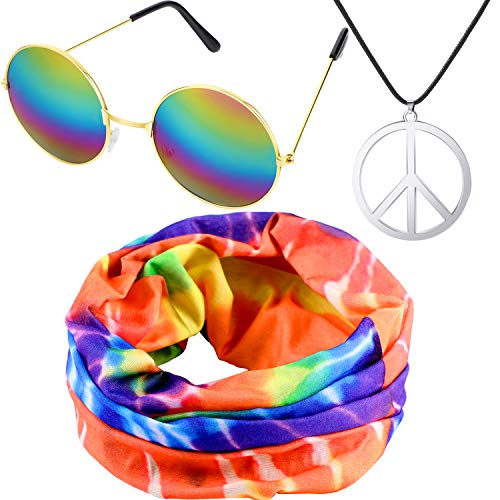 Hippie Costume Set, Include Hippie Headband, Peace Sign Necklace Hippie Glasses for 60s 70s Theme Parties]()