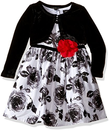 ZUNIE Little Girls' Floral Dress with Velvet Shrug, Black/Ivory, 5