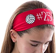 Personalized Monogrammed Volleyball Patch Cotton Stretch Headband **CHOOSE YOUR CUSTOM COLORS FROM CHARTS IN T
