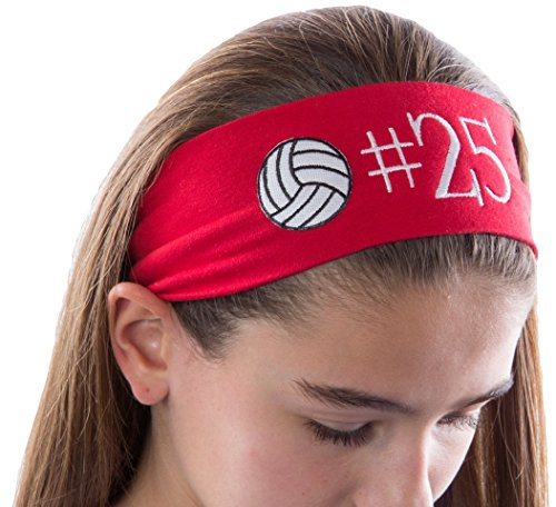 Personalized Monogrammed Embroidered Volleyball Patch Cotton Stretch Headband CHOOSE YOUR CUSTOM COLORS FROM CHARTS IN THIS LISTING -