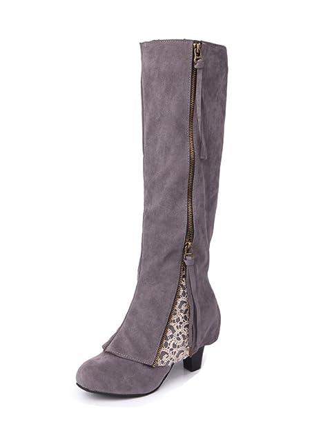 Mujer Elegantes Botas hasta La Rodilla Confortable Borla Encaje Cremallera Botines Casual Zapatos De Tacón Alto: Amazon.es: Zapatos y complementos
