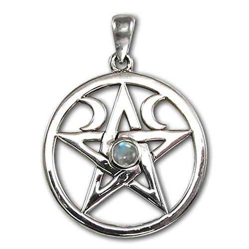 Sterling Silver Moon Pentacle Pentagram Pendant with Rainbow Moonstone