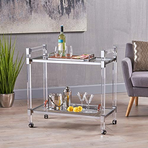 Christopher Knight Home 304602 Hilary Modern Glass Bar Trolley in Clear,