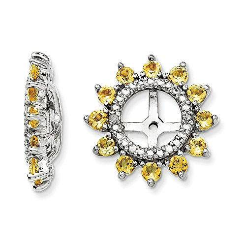 Sterling Silver Rhodium Diamond & Citrine Earring Jacket by Jewels By Lux