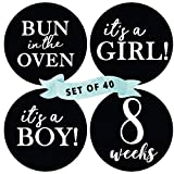 Peachly Pregnancy Milestone Stickers (Set of 40) - Pregnancy Announcement, Gender Reveal, Week 6 - Week 42 | 4 Inches