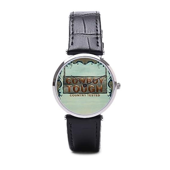 puppya relojes banda de piel West reloj bandas de piel Ranch negro/plata