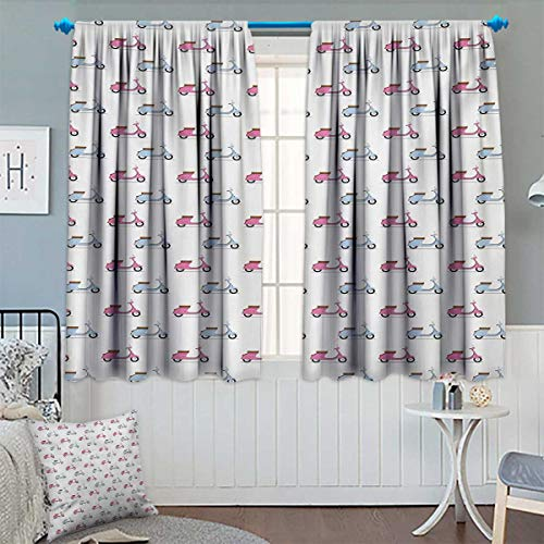 """Chaneyhouse Motorcycle Room Darkening Curtains Classic Pink and Blue Mopeds in Symmetrical Positions Retro Bike Ride Decor Curtains by 63"""" W x 63"""" L Pale Pink Baby Blue"""