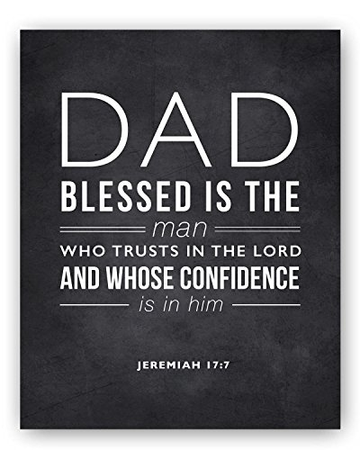 Dad Quote Sign - Thoughtful Scripture Quote Gift for Dad and Unique Dad Gift, Dad Verse Poem Jeremiah 17 Chalkboard Print