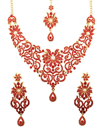 Touchstone New Indian Bollywood Traditional Royal Look Attractive Filigree Carving Red Rhinestone and Faux Pearls Grand Bridal Designer Jewelry Necklace Set in Antique Gold Tone for Women. (Faux Gold Tone Jewelry Set)