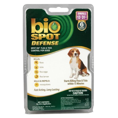 Bio Spot Defense Dog (Bio Spot Defense Spot on Flea and Tick Dogs 13-31-Pound, 6-Month)