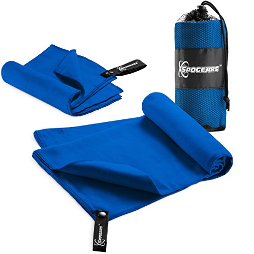 "Microfiber Towel By Spogears - Quick Dry Towel Set of 2 Includes Large Camping Towel 58x30'' + Small Gym Towel - 23x15"" Compact/Lightweight Antibacterial, Super Absorbent Travel, Swim, Sports, T"