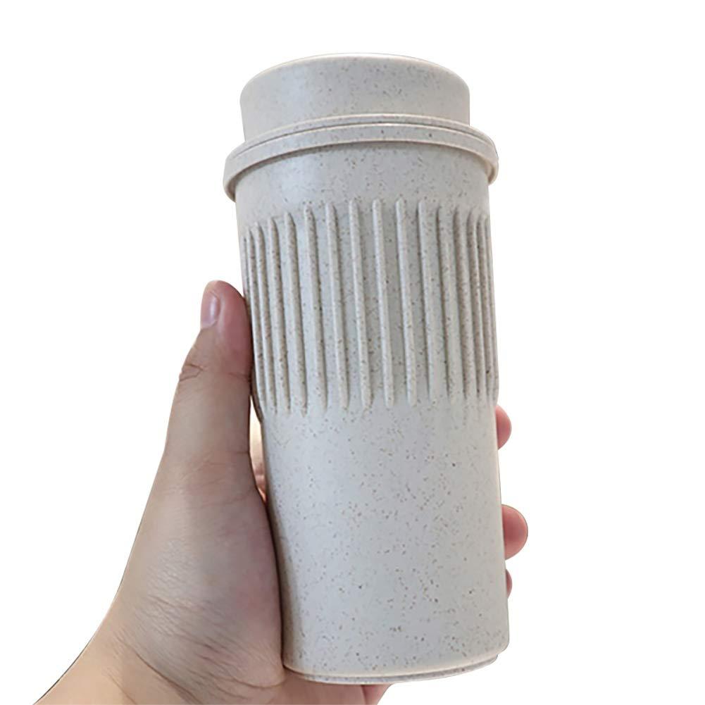 PanDaDa 350ml Office Coffee Mug with Lid Students Lovers Portable Heat-Resistant Wheat Stalk Tea Water Mug Drinkware Cup, Yellow