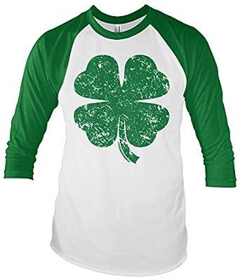 Threadrock Distressed Green Four Leaf Clover Unisex Raglan T-Shirt