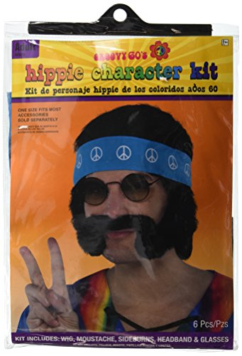 Amscan Groovin '60s Costume Party Hippie Costume Kit, Black, Synthetic Fiber, 4-Piece