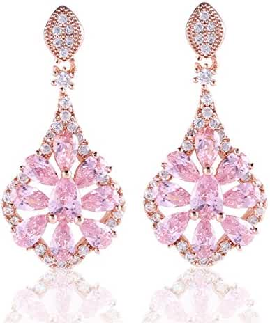 GULICX Rose Gold Tone Pink Crystal Flower Rhinesonte Absorbing Dangle Earrings