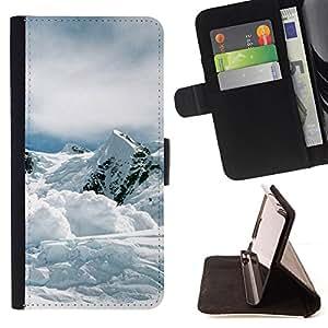 - Nature Mountan Snow - - Monedero PU titular de la tarjeta de cr????dito de cuero cubierta de la caja de la bolsa FOR Sony Xperia Z1 Compact D5503 RetroCandy