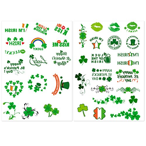 [NUOLUX Shamrock Tattoos for St. Patrick's Day 8 Sheets, Over 140 Tattoos with Shamrock, Irish Flag,