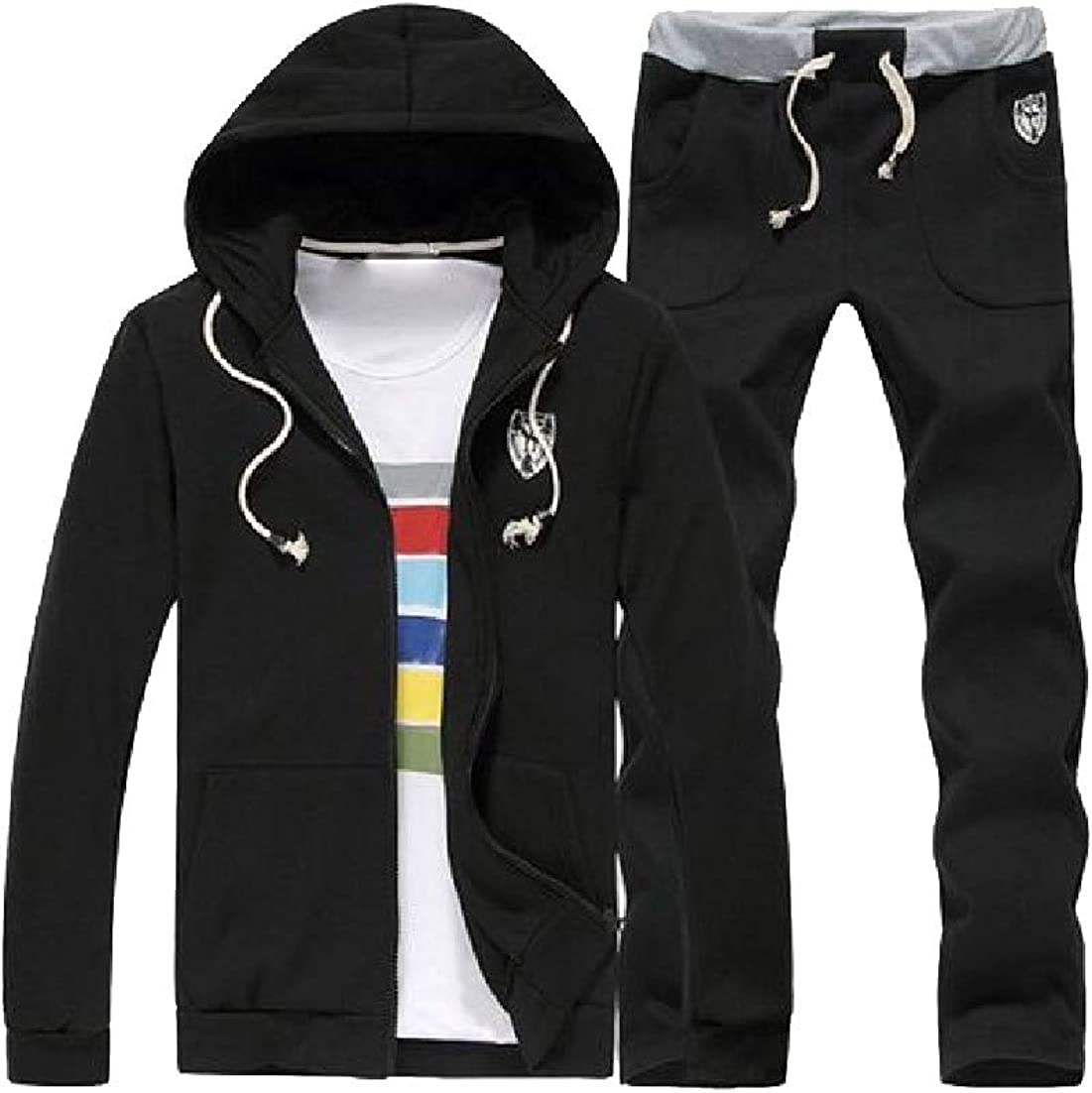 AngelSpace Mens Stitch Casual Pockets Hoodie Drawstring Zip-Up Sweatsuit Set