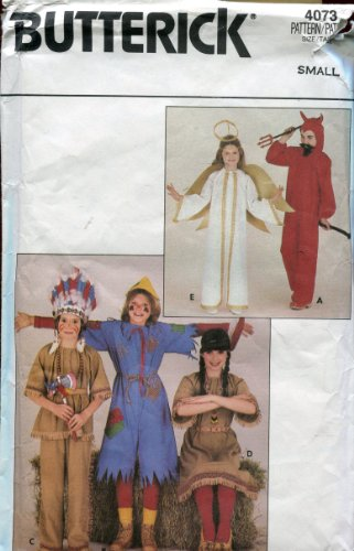 Butterick Pattern 4073 ~ Girls' / Boys' Costumes (Devil, Scarecrow, Indian Bow, Indian Girl, Angel) ~ Size Small -
