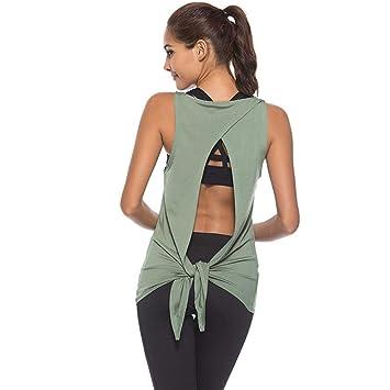 RunJuWuYe Mujeres Deportes Camisetas sin Mangas de Yoga ...