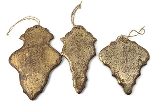 Set of 3 Wood Gilded Chandelier Ornaments Distressed Gold Finish