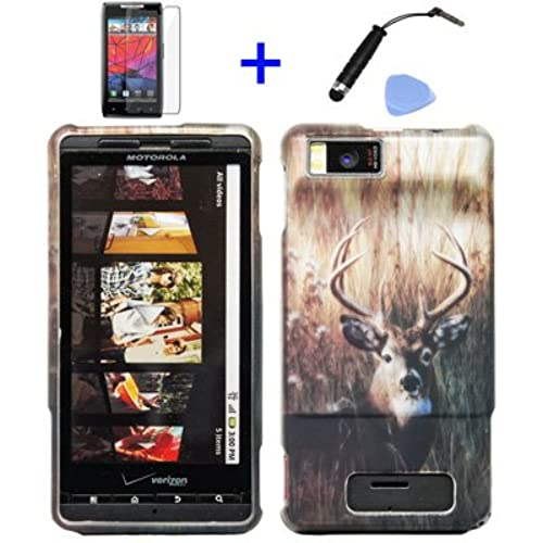 (4 items Combo: ITUFFY (TM) Stylus Pen, Screen Protector Film, Case Opener, Graphic Case) Outdoor Wildlife Deer Grass Camouflage Design Rubberized Snap on Hard Shell Cover Faceplate Skin Phone Case for Verizon Motorola Droid