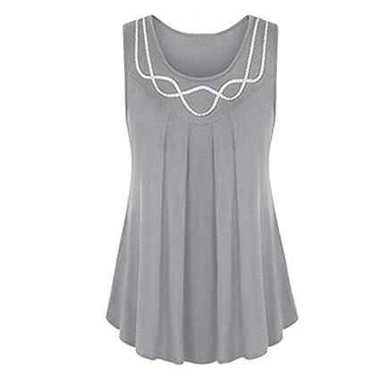 TINGSU - Camiseta sin mangas para mujer, cuello redondo, color ...