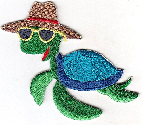 AMK - TURTLE w/SUNGLASSES - IRON ON EMBROIDERED PATCH - SEA CREATURES - OCEAN - - Turtles Sunglasses