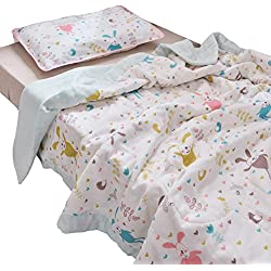 "J-pinno Boys & Girls Cute Bunny Rabbit Muslin Quilted Comforter Bedding Coverlet, 100% Long Staple Cotton, Throw Blanket Crib Toddler Bedroom Decoration Gift (Toddler 47"" X 59"", rabbit2)"
