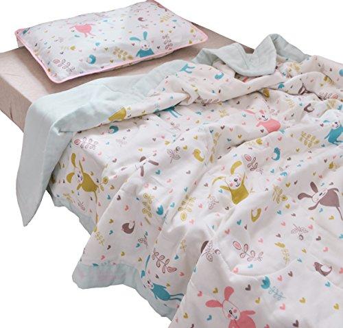 "J-pinno Boys & Girls Cute Bunny Rabbit Muslin Quilted Comforter Bedding Coverlet, 100% Long Staple Cotton, Throw Blanket Crib Toddler Bedroom Decoration Gift (Toddler 47"" X 59"", rabbit2)"