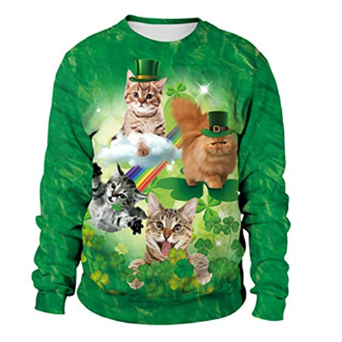 St. Patrick's Day 2019 Deals ! Mens 3D Print Casual Sweatshirts Tops Cute Cats Print Long-Sleeved Round Collar Blouse(Green,US L/Asia XL)