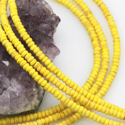 Howlite Turquoise Loose Gemstone Beads Rondelle Spacer 2x4mm Yellow (Turquoise Gemstone Yellow)