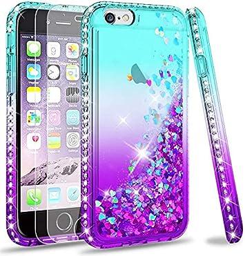LeYi Coque pour iPhone 6 / iPhone 6S Verre Trempé [Lot de 2], Fille Personnalisé Liquide Paillette Transparente 3D Silicone Gel Antichoc Kawaii Étui ...