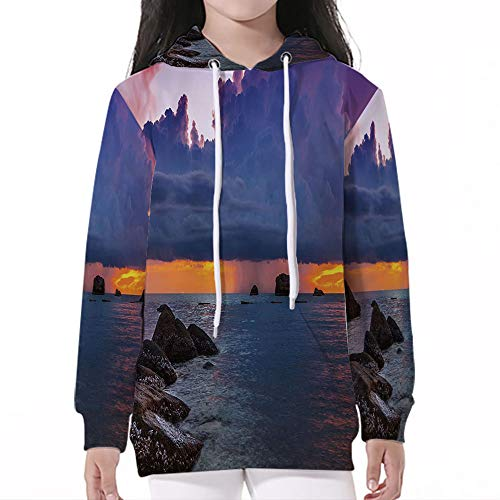 Teen Boys'Galaxy Sweatshirts,Beach,Tropical Seashore Majestic Sunset Natural Sce