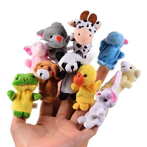 Terciopelo lindo animal estilo marionetas dedo para niños, espectáculos, juegos de recreo, escuelas-Moonvvin 10 diferentes animales de dibujos animados conjunto-regalo de Navidad para los niños de bebé