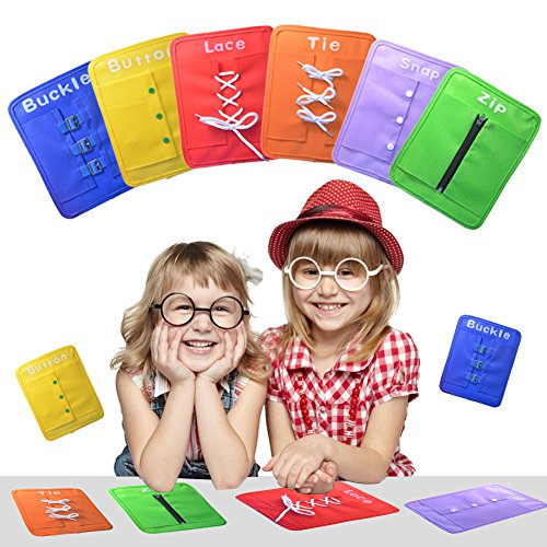 Pueri Learning Board Early Learning Basic Life Skills Learn to Dress Boards Lace, Button, Buckle, Tie, Zip, Snap 6 pcs/Set]()