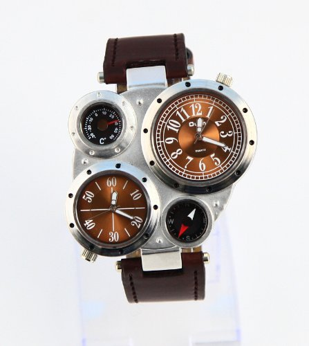 Movement Brown Dial (Oulm Fashion Metal Dial Watch with Dual Quartz Movement/Compass/Thermometer Brown dial)