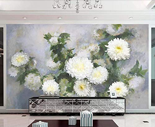 Wallpaper 3D White Chrysanthemum Vintage Oil Painting Custom Large Mural 3D Effect Living Room Bedroom Wall Murals,200cmX140cm