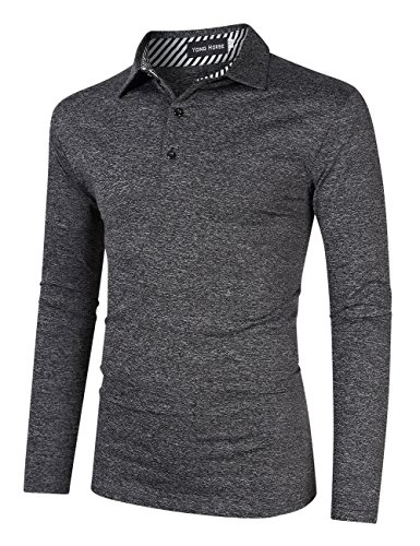 Yong Horse Men's Casual Classic Golf Polo T Shirts Athletic Long Sleeve M Gray ()