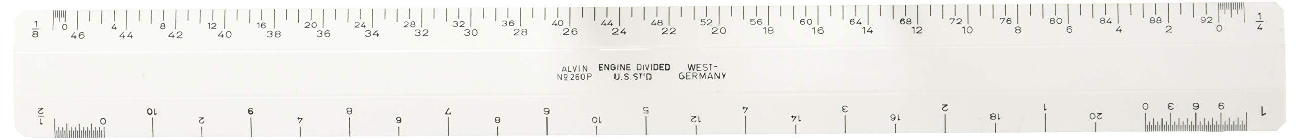 Alvin 260P 12'' White Plastic Flat Architect Scale by Alvin