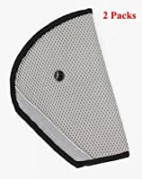 KAMSOL Car Seat Belt Triangle Adjuster Fixator Child Kids Safety Cover Harness Mash Pad Comfortable Protector Seatbelt Clip for Adult Children Set of 2 Grey