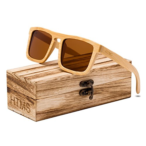 HTMS Bamboo Wood Sunglasses Men Polarized Square Wayfarer Sun glasses Vintage Driving Glasses (Brown Lens/Bamboo - For Square Men Sunglasses