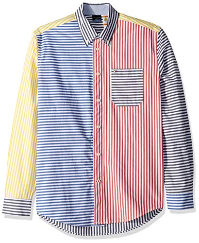 Tommy Hilfiger Men's Adaptive Magnetic Long Sleeve Button Down Shirt Custom Fit, Multi, Large