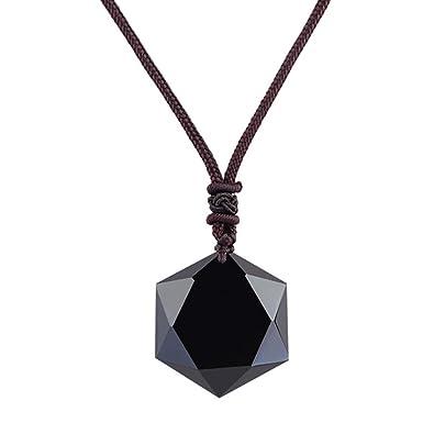 0210fa5760ad9b Amazon.com: Blue Europa Black Obsidian Natural Stone Pendant with ...