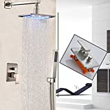 Votamuta 8-Inch LED Light Rainfall Shower Head Faucet Set Wall Mounted Bathroom Single Mixer Valve Shower Tap with Hand Sprayer,Stainless Steel
