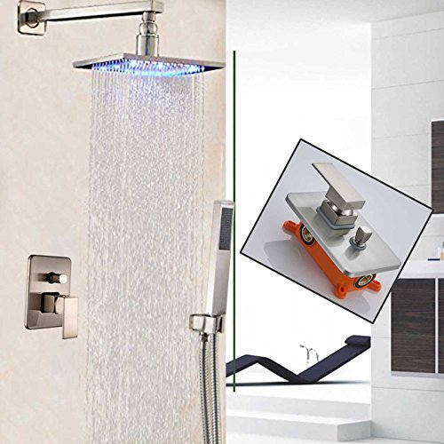 (Votamuta 8-Inch LED Light Rainfall Shower Head Faucet Set Wall Mounted Bathroom Single Mixer Valve Shower Tap with Hand Sprayer,Stainless Steel)