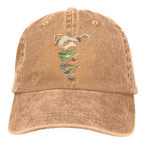 HIPGCC Mens and Women's Unisex California Republic Camouflage Bandana Bear Fashion Washed Cotton Adjustable Baseball Cap Dad Hat Natural]()