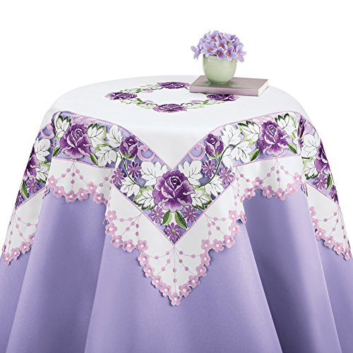 (Collections Etc Elegant Spring Table Linens with Embroidered Purple Rose Flowers, Square)