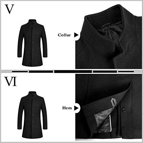 APTRO Men's Wool Coat Slim Fit Business Overcoat FD01 Black L by APTRO (Image #4)