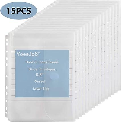 YoeeJob 11 Holes Binder Envelopes Pockets Plastic Expandable Project Folder with Hook and Loop 0.8-Inch Gusset Letter Size,15 Packs Blue